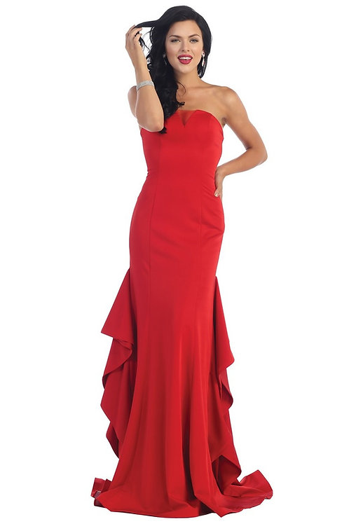 Red Strapless Long Dress Size 4