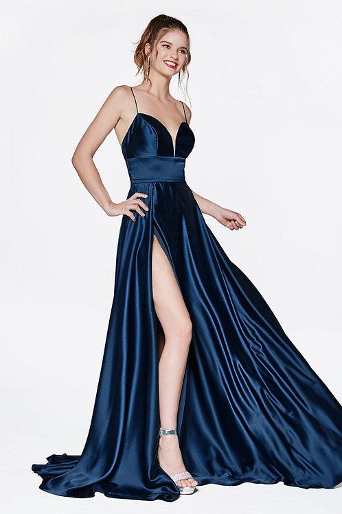 Navy Satin Long Dress Size 8
