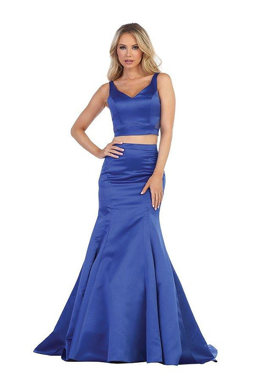 Royal Blue Two Piece Long Dress Size XL
