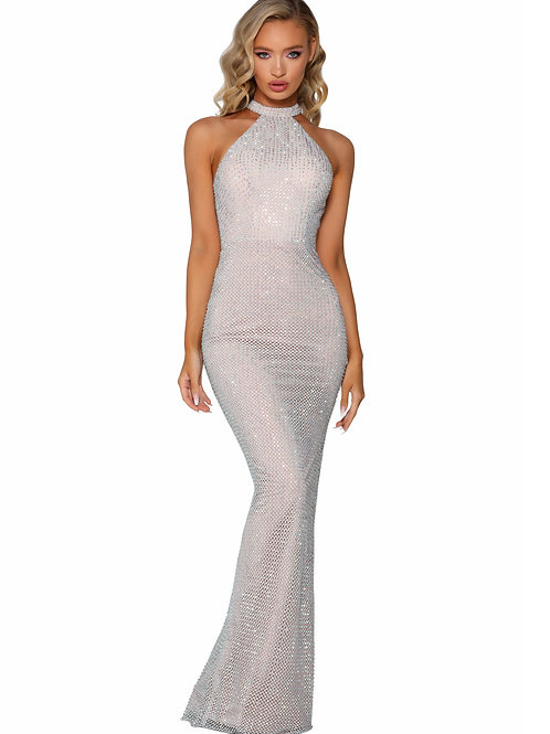 Silver Nude Jeweled Long Dress Size 4