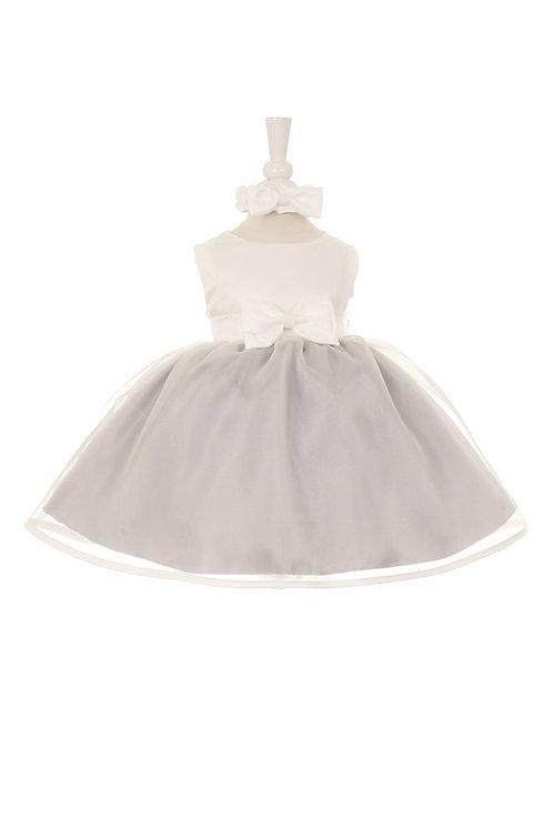 Baby Girls Silver & Ivory Short Dress Size M