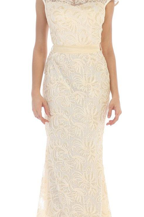 Ivory Sheath Bridal Gown Size 5XL