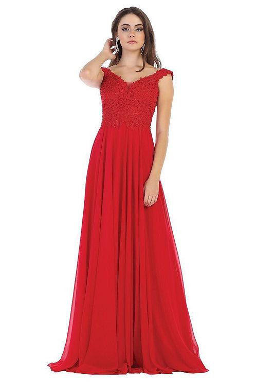 Red Off Shoulder Long Dress Size 14
