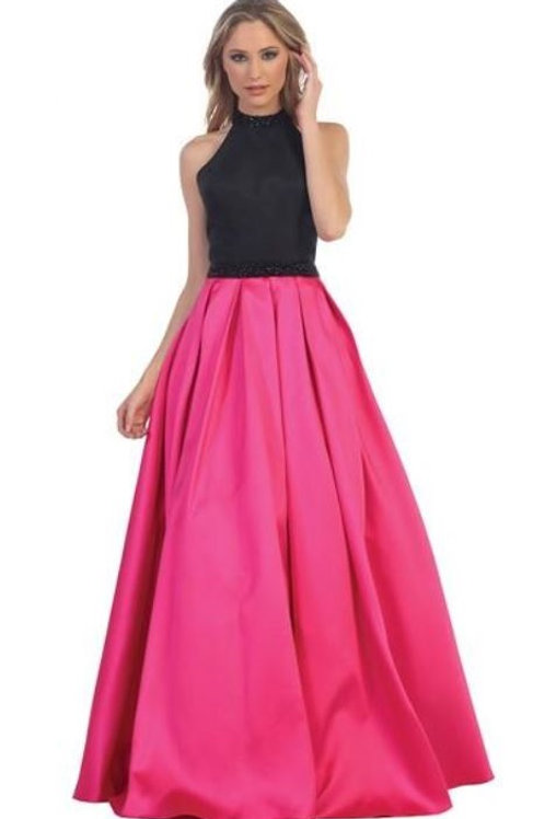 Black & Fuchsia Beaded Ballgown Size XS