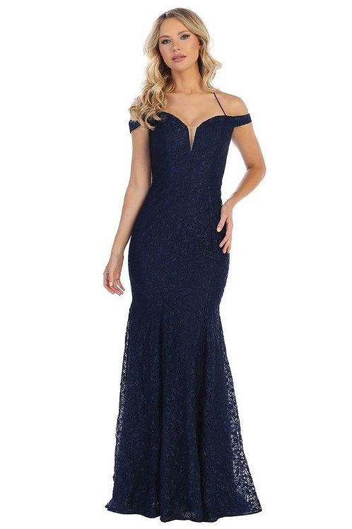 Navy Lace Off Shoulder Long Dress Size S, M