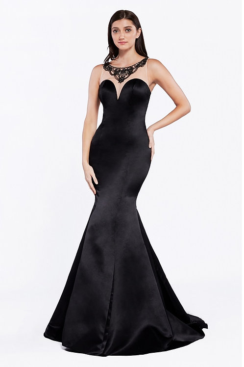 Black Beaded Fit & Flare Long Dress Size 14
