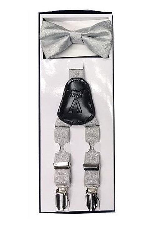 Children's Silver Metallic Bowtie & Suspender Set