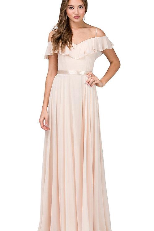 Champagne Off Shoulder Long Dress Size L