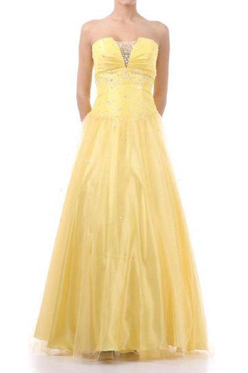 Yellow Strapless Jeweled Long Dress Size XL