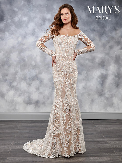 Ivory Nude Long Sleeve Sheath Bridal Gown Size 6