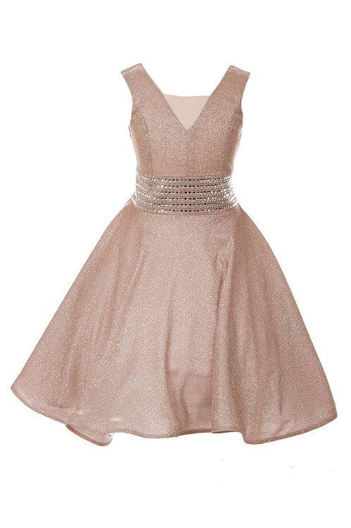 Girls Blush Metallic Short Dress Size 6