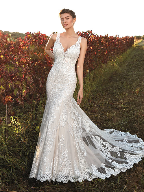 Ivory Bridal Gown With Beautiful Illusion Back Design Size 8