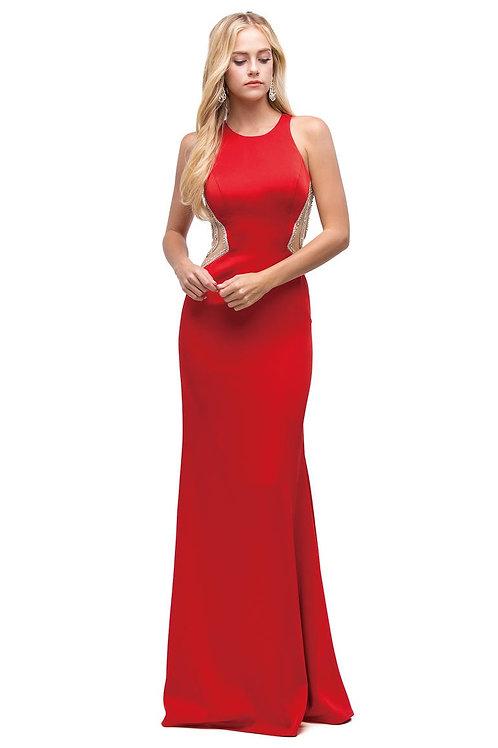 Red Jeweled Back Long Dress Size M
