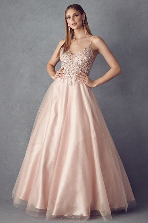 Rose Gold Beaded Ball Gown Size 2XL