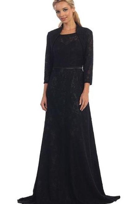 Black Lace Long Dress With Jacket Size L, XL