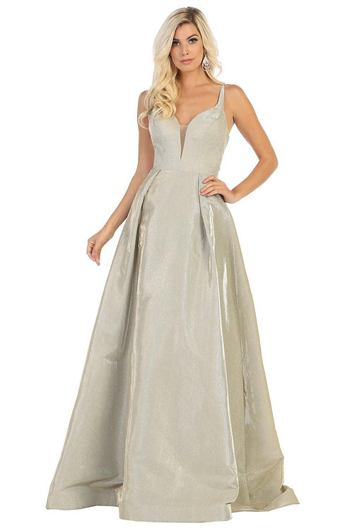 Gold Glitter Long Dress Size 16