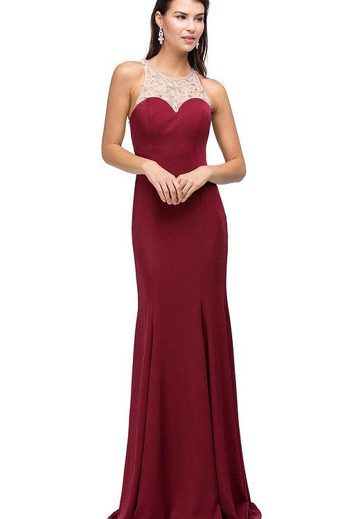 Burgundy High Neck Long Dress Size XS, S