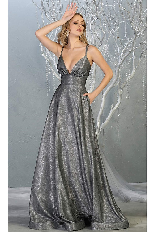 Charcoal Metallic Long Dress Size 4