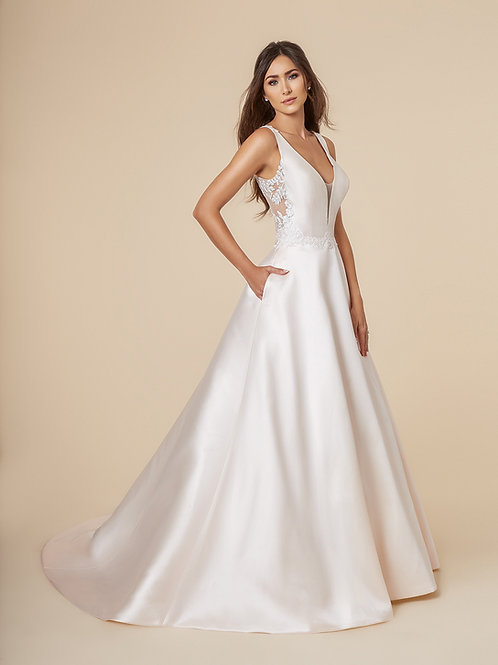 Ivory Mikado A-Line Bridal Gown Size 8