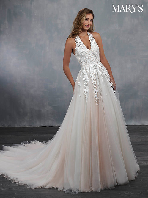 Ivory Lace Halter Bridal Gown Size 6