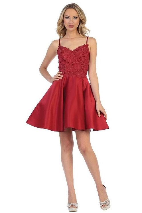 Burgundy Lace Short Dress Size L