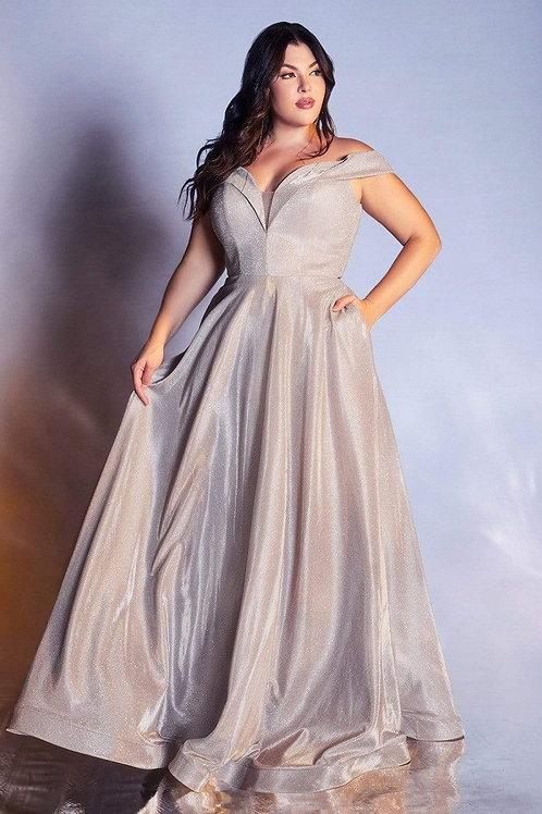 Champagne Metallic Long Dress Size 26