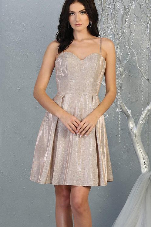Rose Gold Metallic Short Dress Size 4
