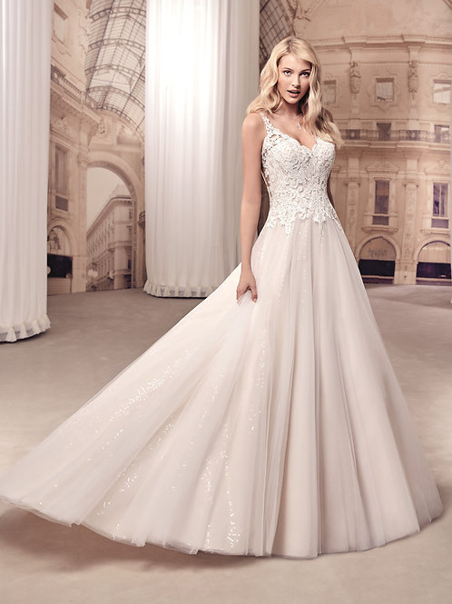Champagne V-Neck Ball Gown Size 12
