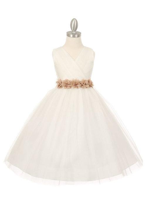 Girls Ivory Tulle With Satin Belt Dress Size Girls 10