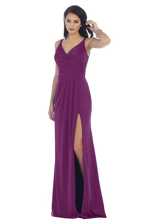 Eggplant Draped Long Dress