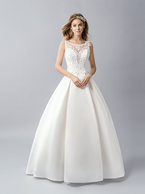Ivory Mikado Bridal Ball Gown Size 8