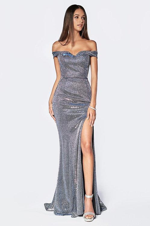 Silver Metallic Long Dress Size 6