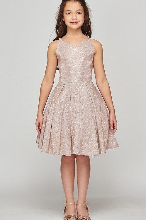 Girls Rose Gold Metallic Short Dress Size 14