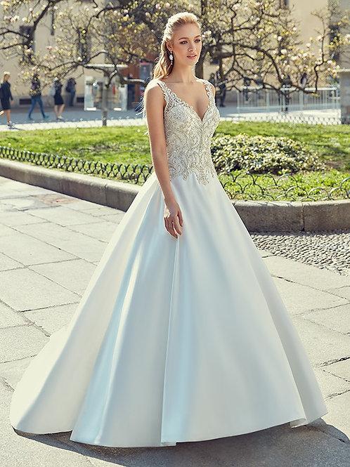 White Mikado A-Line Bridal Gown Size 12