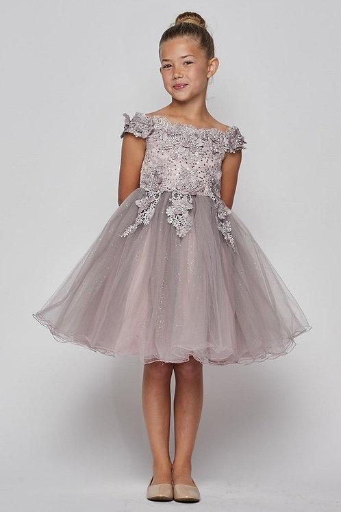 Girls Mauve Floral Embroidered Short Dress Size 8
