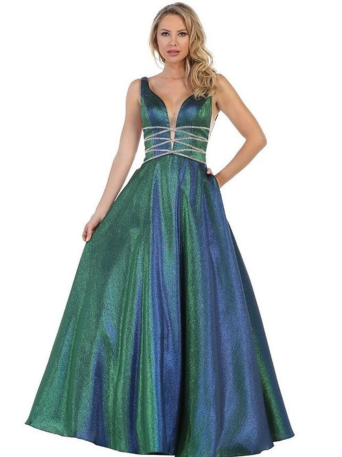 Green Metallic Jeweled Ballgown Size S