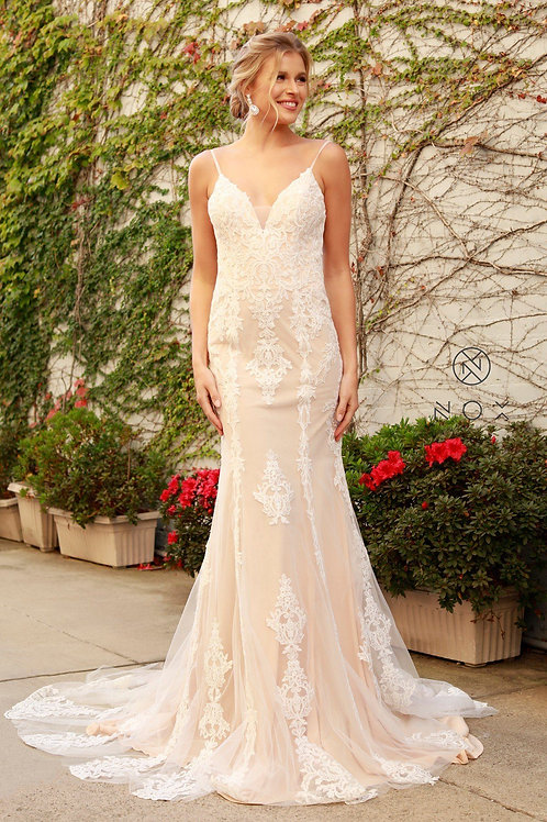 Nude & White Lace Fit & Flare Bridal Gown Size 4