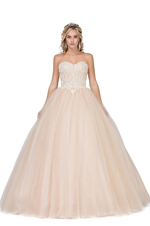 Champagne Strapless Ball Gown Size M