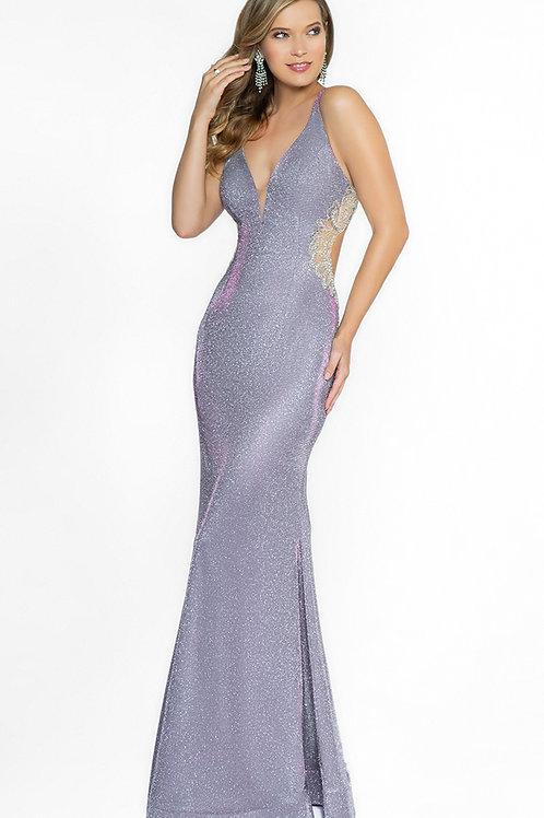 Purple Glitter Fit & Flare Long Dress Size 0
