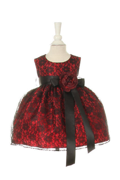Baby Girls Red & Black Lace Short Dress Size 18-24 Months