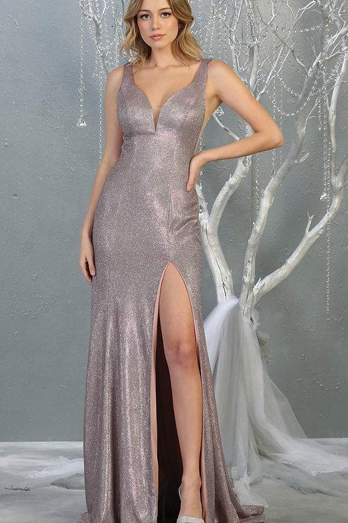 Purple Metallic Fit & Flare Long Dress Size 6