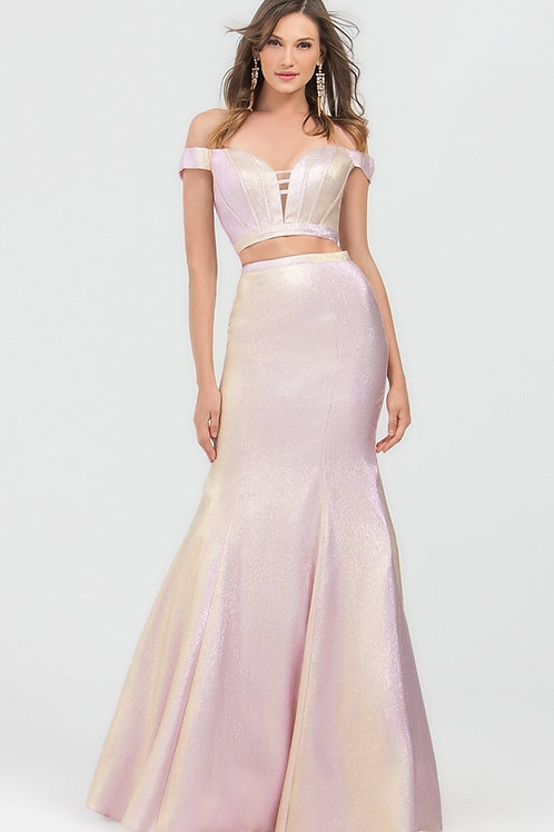 Pink Metallic Two Piece Fit & Flare Long Dress Size 8