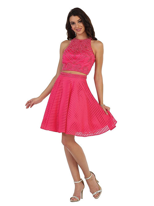 Hot Pink Jeweled Two Piece Short Dress Size 2