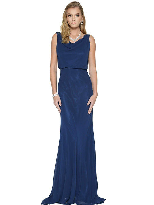 Navy Cowl Neck Long Dress Size S