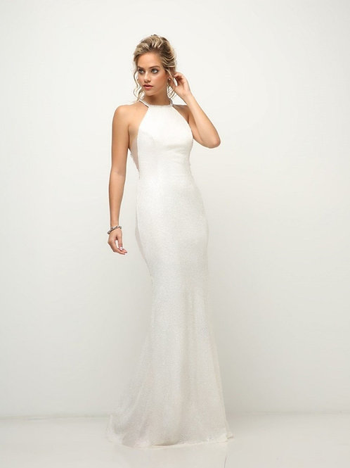 Off White Sequin Fit & Flare Gown Size 8