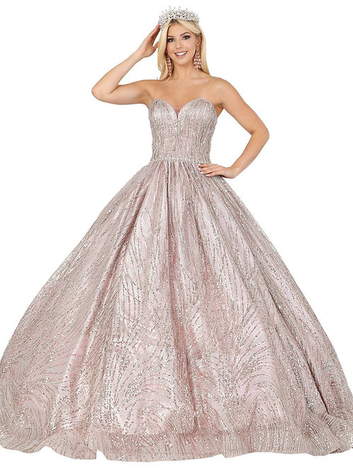 Dusty Rose Glitter Ball Gown Size L