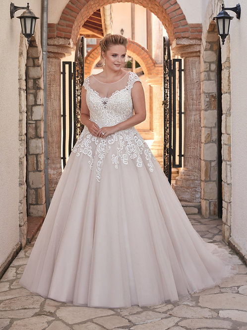 Ivory Illusion Ball Gown With Cap Sleeve Size 16W