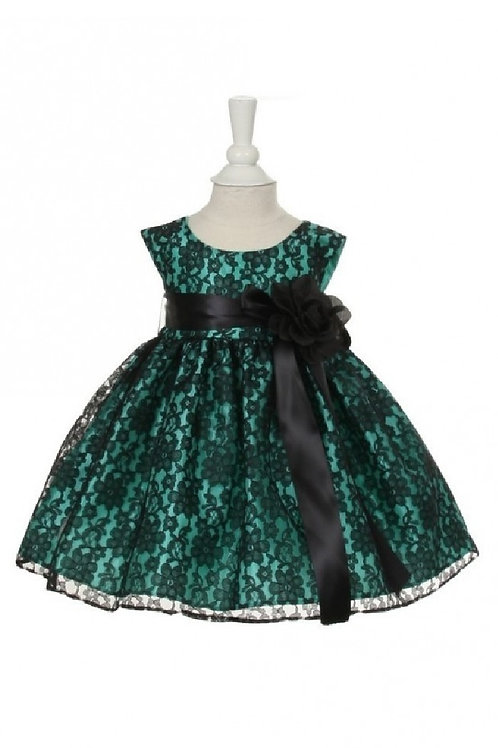 Girls Turquoise & Black Lace Short Dress Size 0-6 Months, 6