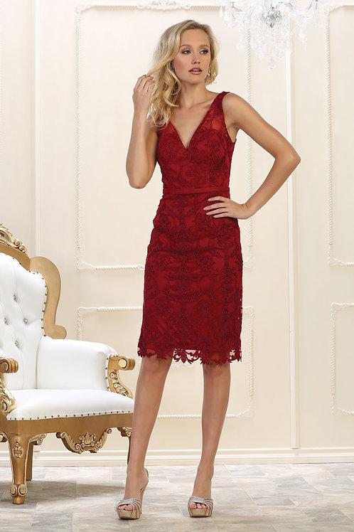 Burgundy Lace Short Dress Size 12