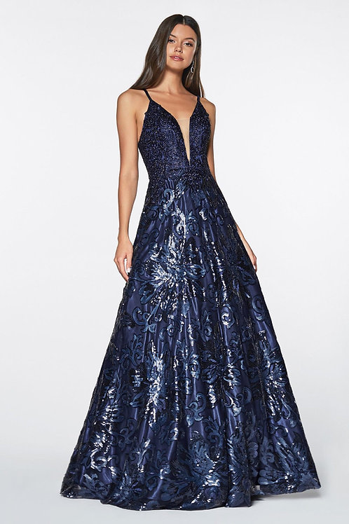 Navy Sequin Long Dress Size 4X